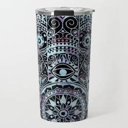 Watercolor Blue Pink Hamsa Hand Travel Mug