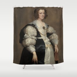 Lady with a Fan Oil Painting by Sir Anthony van Dyck Shower Curtain