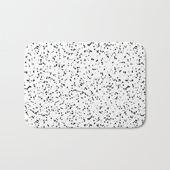 Speckles I: Double Black on White Bath Mat