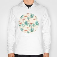 50s Hoodies featuring Flowering Succulent Pattern in Cream, Coral and Green by micklyn