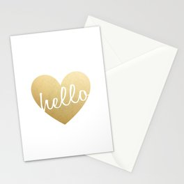 Hello Heart Wall Art #3 Gold Heart Stationery Cards