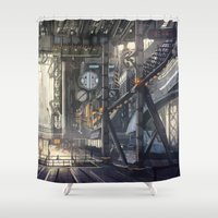 industrial Shower Curtains featuring Industrial District by Nigel Goh