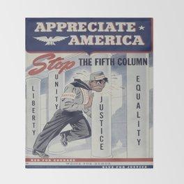 Vintage poster - Appreciate America Throw Blanket