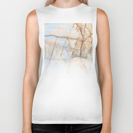 Cotton Latte Marble - Ombre blue and ivory Biker Tank