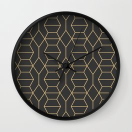 Comb in Charcoal and Gold Wall Clock