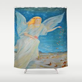 Bless me | Guardian Angels are Here | Angel of Abundance | Love Shower Curtain