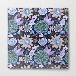 Playful Flowers Pale Blue and Purple Metal Print