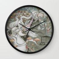 the last unicorn Wall Clocks featuring The Last Unicorn by Bonnie Johnson