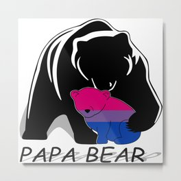 Papa Bear Bisexual Metal Print