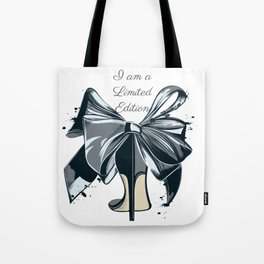 Fashion illustration with high heel shoe and bow. I am limited edition Tote Bag