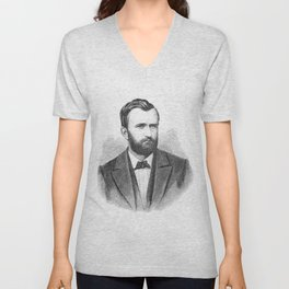 Ulysses S. Grant Illustrative Portrait Unisex V-Neck
