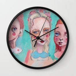 White, Blue and Pink Collared Wall Clock