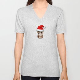 Christmas Lion Wearing a Santa Hat Unisex V-Neck