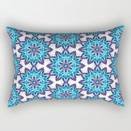 Beautiful Blue and Purple Beadwork Inspired Print Rectangular Pillow