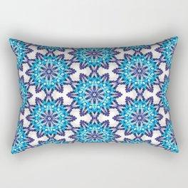 Beautiful Blue and Purple Beadwork Inspired Print Rectangular Pillow
