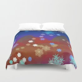 Mountains and Snowflakes Duvet Cover