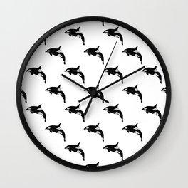 Killer Whale minimal linocut basic orca sealife ocean animals art black and white Wall Clock