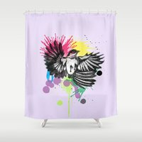 wesley bird Shower Curtains featuring bird  by mark ashkenazi