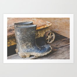 Rubber Boots at Philo Apple Farm Art Print