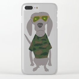 Camo Weim Hunting Grey Ghost Weimaraner Dog Hand-painted Pet Drawing Clear iPhone Case