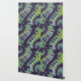 Spiral Tie Dye Purple Green Blue Yellow Wallpaper