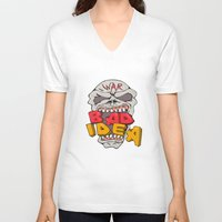 bad idea V-neck T-shirts featuring Skull War Bad Idea Cartoon by patrimonio