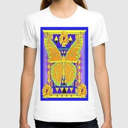 Yellow, Purple & Lapis Blue Modern Art Deco Butterfly-Sunflower Art T-shirt