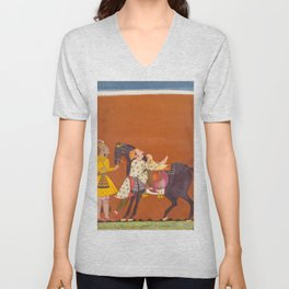 A Warrior Mounting a Held Horse - 17th Century Classical Indian Art Unisex V-Neck