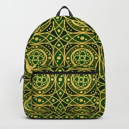 Gold Foil Celtic Rings Interlocking Irish Dotted Shamrock Green on Black Backpack