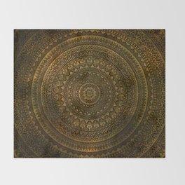 Lime Brown Mandala Throw Blanket