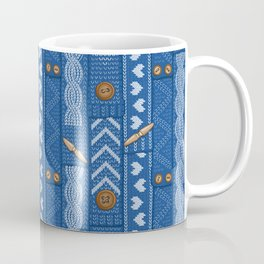 Scarves Knitted Buttoned - Blue Coffee Mug