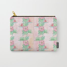 Tropical flowers and leaves watercolor Carry-All Pouch