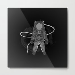 Astronaut with star spiral, space Metal Print