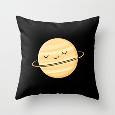 Happy Planet Saturn Throw Pillow