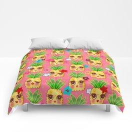 Happy Kawaii Cute Pineapples on Pink Comforters