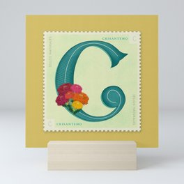 Sellos Naturales. Letter C. Flor: Chrysanthemum. Mini Art Print
