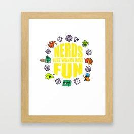 Nerdy geek fun RPG Gamer Dragon funny gift Framed Art Print