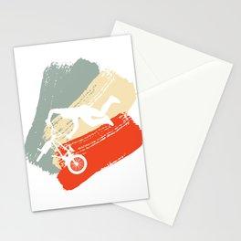 Retro Vintage Riding Bicycle Healthy Lifestyle Travel Bmx Brake Ride Cycling Bike T-shirt Design Stationery Cards