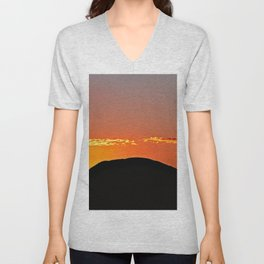 Silhouette Hill Golden Cloud Sunset Landscape Unisex V-Neck