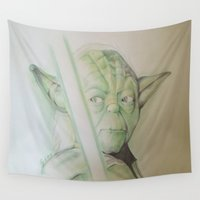 yoda Wall Tapestries featuring yoda by DelDP