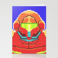 metroid Stationery Cards featuring Metroid Tiles by James Brunner