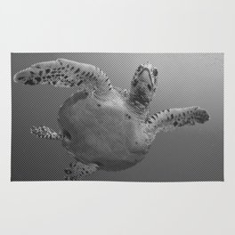 Sea Turtle Line Pattern In Black And White Rug