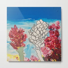 Alpinia purpurata – Red Ginger Flower Metal Print