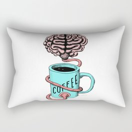 Coffee for the brain. Funny coffee illustration Rectangular Pillow