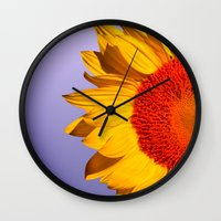 sunflowers Wall Clocks featuring sunflowers by mark ashkenazi
