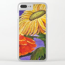 Warm Flowers, Sunflower & Poppy Clear iPhone Case
