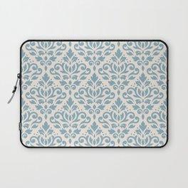 Scroll Damask Big Pattern Blue on Cream Laptop Sleeve