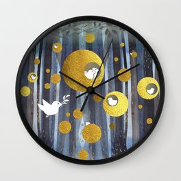 Golden nests Wall Clock