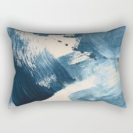 Against the Current: A bold, minimal abstract acrylic piece in blue, white and gold Rectangular Pillow