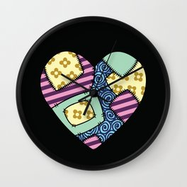 Patchwork heart Wall Clock